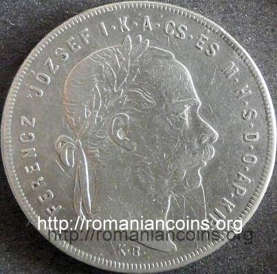 emperor Franz Joseph on a Hungarian coin of 1 forint from 1878