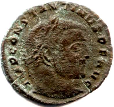 emperor Constantine the Great on a Roman coin