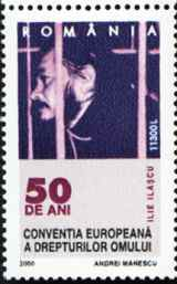 Ilie Ila�cu on Romanian stamp from 2000 celebrating the 50th anniversary of the European Convention of Human Rights