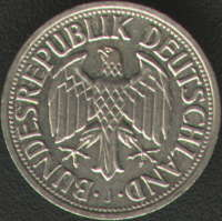 1 German mark from 1963 - recent German coin struck in Hamburg featuring the same J mark