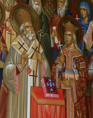 Holy Hierarch Dosoftei and Stephen the Great and the Holy, central characters on the Moldavia's Saints icon in the Orthodox Cathedral of Chi�in�u