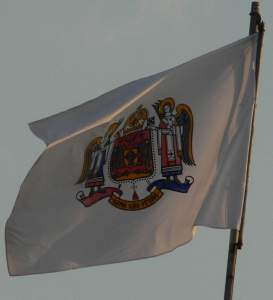 The flag atop the Patriarchal Palace, bearing the coat of arms of the Patriarchy.