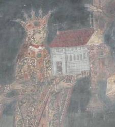 Stephen the Great in the votive painting at Dobrovăţ Monastery near Iaşi - fresco from 1529