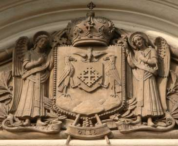Coat of arms of the Romanian Patriarchy on a building inside the Patriarchal Complex
