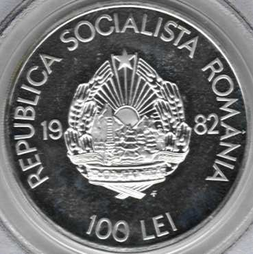 100 lei 1982 - 2050 years since the creation of the centralized and independent Dacian state - obverse