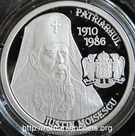 10 lei 2010 - Iustin Moisescu, the fourth patriarch of Romania - reverse