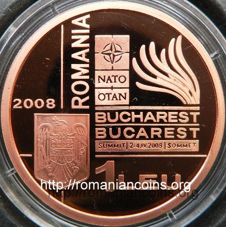 1 leu 2008 - coppered tombac - NATO Summit in Bucharest