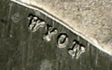 monetary pattern - 2 lei 1869 - detail with the engraver's name, WYON