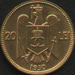 20 lei 1930 - struck at Royal Mint in London