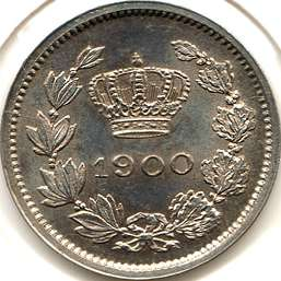 5 bani 1900 - cross above crown with an inclination to the left