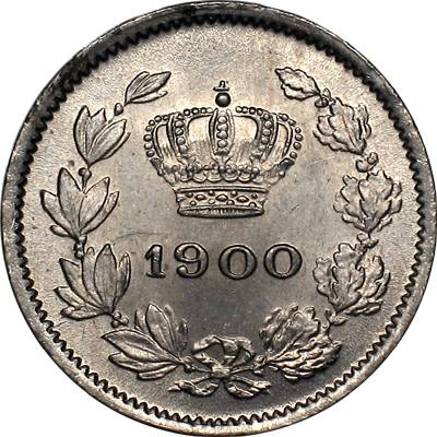5 bani 1900 - the cross above crown is vertical