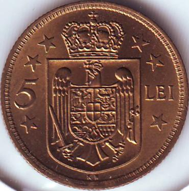 5 lei 1930 - KN - King's Norton, coin struck at Birmingham